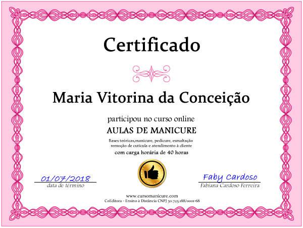 certificado curso de manicure faby cardoso